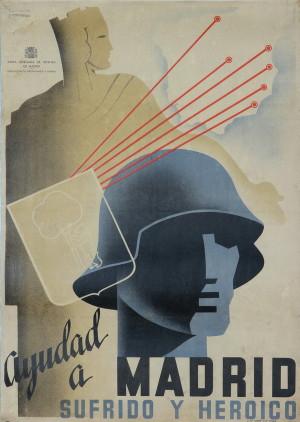 Pomozte trpícímu hrdinnému Madridu, 1936–1937. Tisk, litografie.