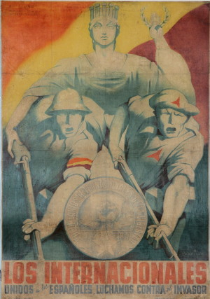 My internacionalisté bojujeme po boku Španělů proti vetřelci, 1937. Tisk, litografie.