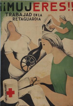 Jesús Lozano, Ženy! Pracujte v zázemí, 1937. Tisk, litografie.