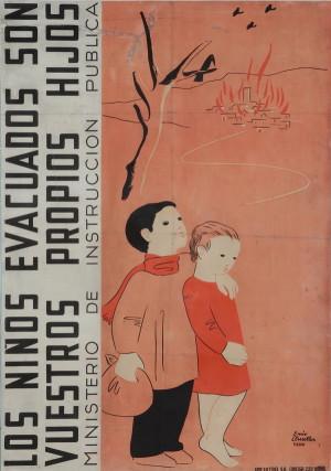 Enric Cluselles: Evakuované děti jsou vaše vlastní děti, 1937, Ministerstvo školství. Tisk, litografie.