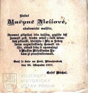 Dedikace Marině Alšové.