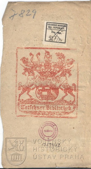 Rub titulního listu s natištěným exlibris těšínské zámecké knihovny – spisek tedy patřil do majetku samotného polního maršála arcivévody Karla Rakousko-Těšínského.