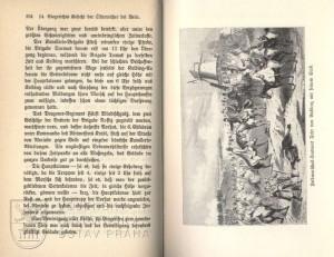 Ukázka textu a obrázek rakouského polního podmaršála svobodného pána Gablenze s jeho štábem.
