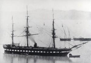 Parní fregata poháněná šroubem, kolem poloviny devatenáctého století