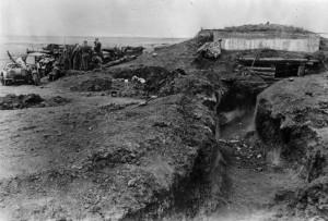 Sovětská obranná linie Baku na krymském poloostrově Kerč dobytá Němci, 15. květen 1942