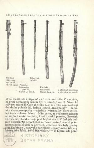 Ilustrace českých ručnic z konce XIV. a XV. století.
