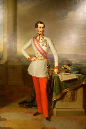 František Josef I. ve slavnostním stejnokroji rakouského polního maršála, kolem 1860