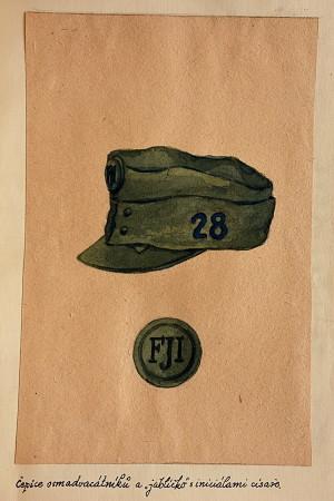 Nákres čepice s improvizovaným plukovním označením z deníku Jaroslava Drdy. FOTO: VHÚ