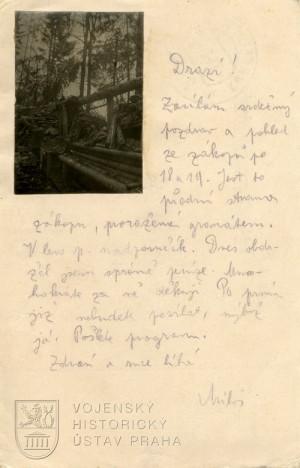 Korespondenční lístky kadeta střeleckého pluku č. 25