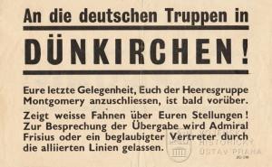 Propagační leták An die deutschen Truppen in Dünkirchen!