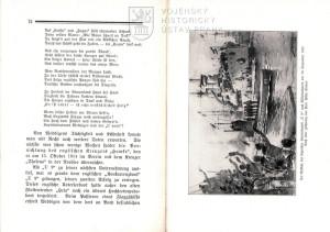 Ukázka textu a obrázek vítězného návratu U-9 po potopení tří britských křižníků.