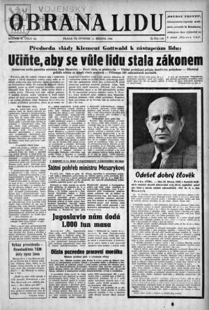 Titulní strana Obrany lidu se zprávou o smrti Jana Masaryka.