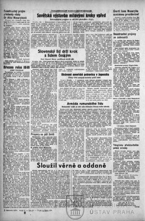 Další text týkající se Masarykovy osoby ve vydání Obrany lidu z 10. 3. 1948.