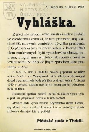 Vyhláška Zákaz oslavy narozenin T. G. Masaryka, 1940