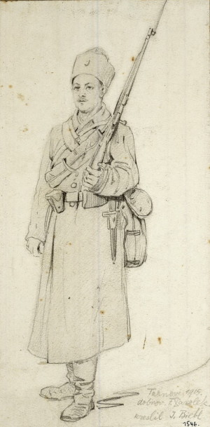 Jindřich Biebl, Dobrovolník Parolek, Tarnov, 3. května 1915