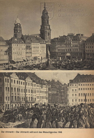 Pohled na jedno z dominantních náměstí, Altmarkt, ve 30. letech 20. století a za květnového povstání roku 1849.