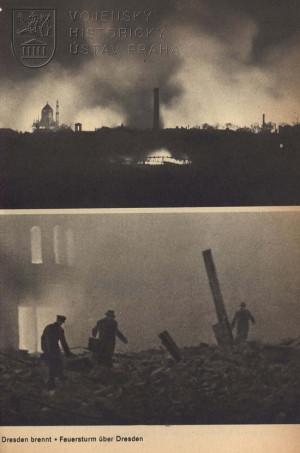 Poměrně vzácná fotografie z noci ze 13. na 14. února, během náletu.