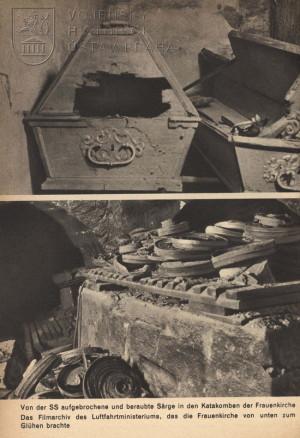 Pozůstatky drážďanského filmového archivu uskladněného v suterénu chrámu Frauenkirche (spodní část).
