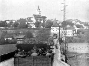 Postup do Československa – belgičtí vojáci před Stříbrem Foto sbírka VHÚ