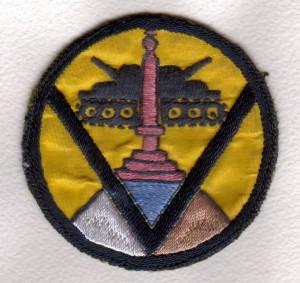 Nášivka používaná belgickým 17. praporem fyzilírů od června 1945 Foto sbírka VHÚ