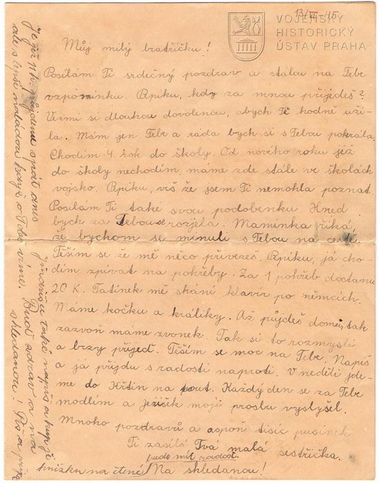 Dopis na přivítanou, 1945