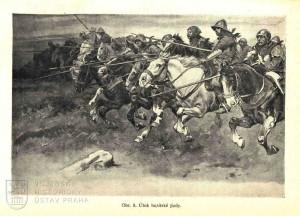 Husitská jízda útočí na křižáky.