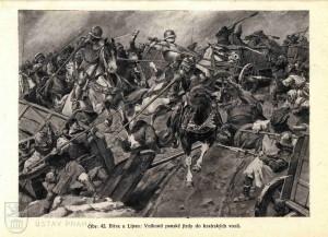 Obraz lipanské bitvy, na kterém jezdectvo koalice vniká do vozové hradby radikálních utrakvistů.