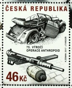 Známka k 75. výročí operace Anthropoid