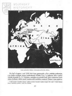 Schéma trasy tiskárny při anabázi a repatriaci.