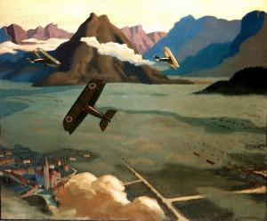 Sydney Carline: Britská hlídková letadla opouštějí své letiště na náhorní planině u Asiaga. Itálie, 1918, olej na plátně. FOTO: IWM