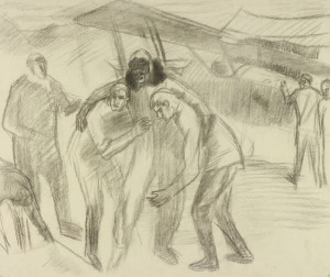 Sydney Carline: Pomoc zraněnému britskému pilotovi, říjen 1918, kresba uhlem. FOTO: IWM