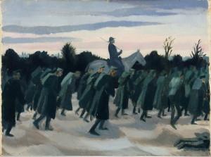 Sydney Carline: Rakouští váleční zajatci jsou odváděni za italské linie, 1918, olej na panelu. FOTO: IWM