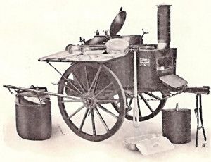 Rakousko-uherská vojenská kuchyně Drehküche. FOTO: Fahrküchenvorschrift, Wien 1909