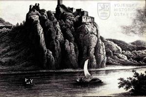 Kresba hradu Střekov, kterého se po bitvě na Běháni zmocnil přeběhlík na utrakvistickou stranu Zikmund z Vartenberka.