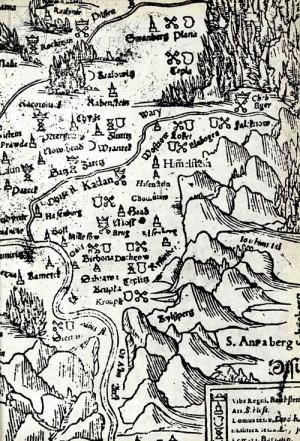 Mapa Čech z Münsterovy Kosmografie, Basilej 1575.