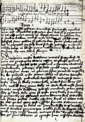 Ukázka husitské písně z Roudnického rukopisu.