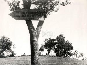 Provizorní poválečný památník vesnice Ležáky, vyvražděné 24. června 1942 Němci