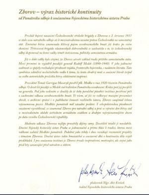 Text poselství z Vojenského historického ústavu Praha