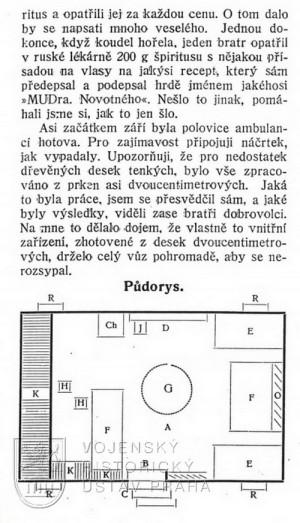 """Půdorys poštovního vagonu (""""ambulance"""")."""