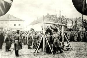 Poprava starodružiníka Antonína Grmely ve Wadowicích 12. prosince 1914