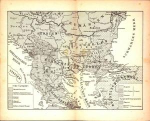 Mapka rozmístění jednotlivých etnik na Balkáně.