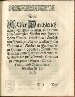 Dedikace císaři Matyášovi II.