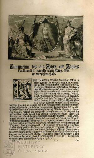 Počátek hlavního textu knihy a shrnutí událostí roku 1618.