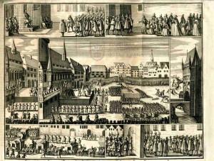 Vyobrazení poprav vůdců stavovského povstání na Staroměstském náměstí 21. 6. 1621.