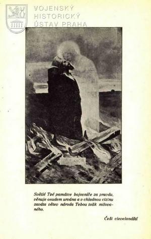 Ilustrace zobrazující Jana Husa na hranici.
