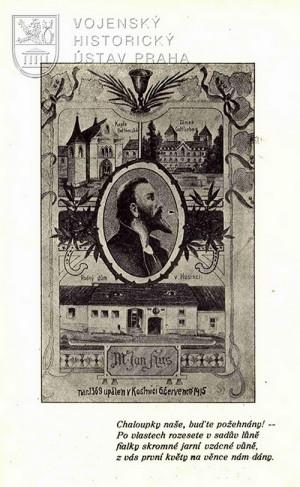 Ilustrace s vyobrazením Jana Husa, Betlémské kaple, ve které kázal, hradu Gottlieben kde byl vězněn, a jeho předpokládaného rodného domu v Husinci.