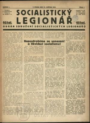 První číslo Socialistického legionáře z 13. května 1921.