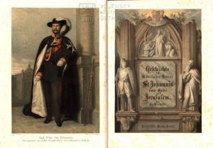 Titulní list a frontispis s vyobrazením pruského prince Karla jako představeného brandenburské bailivy.