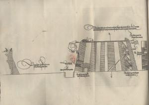 Ilustrace průřezu pevnostní stavbou.