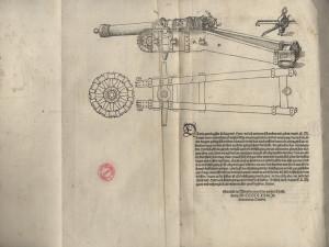 Závěr publikace s informací o místu a datu vydání a s ilustrací dobového děla.